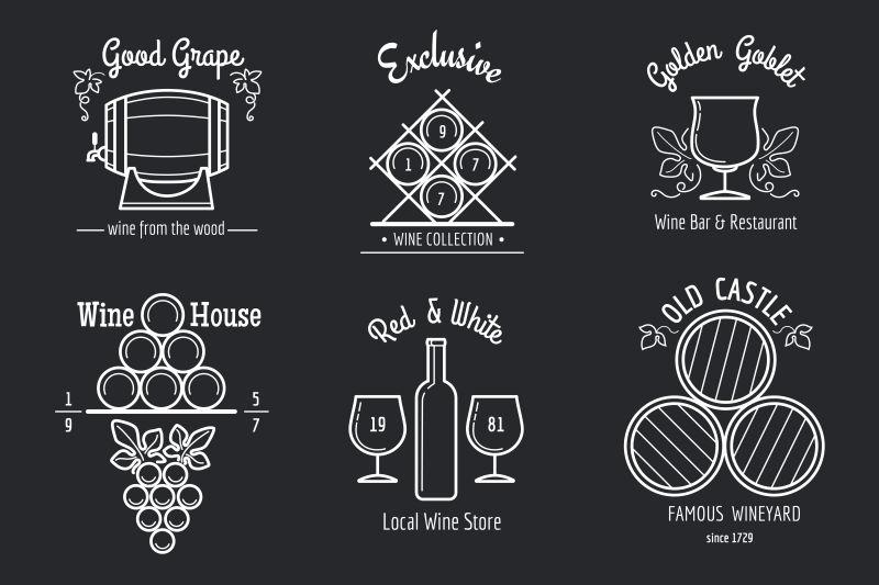 葡萄酒线标志设置。葡萄酒酒吧或葡萄酒餐厅菜单上的酿酒或酒厂细线标志。矢量插图