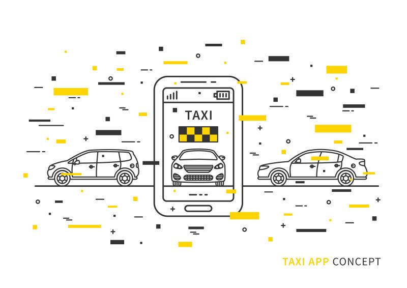 出租车应用在手机矢量插图与彩色装饰元素。出租车服务采用手机和汽车线路艺术理念。
