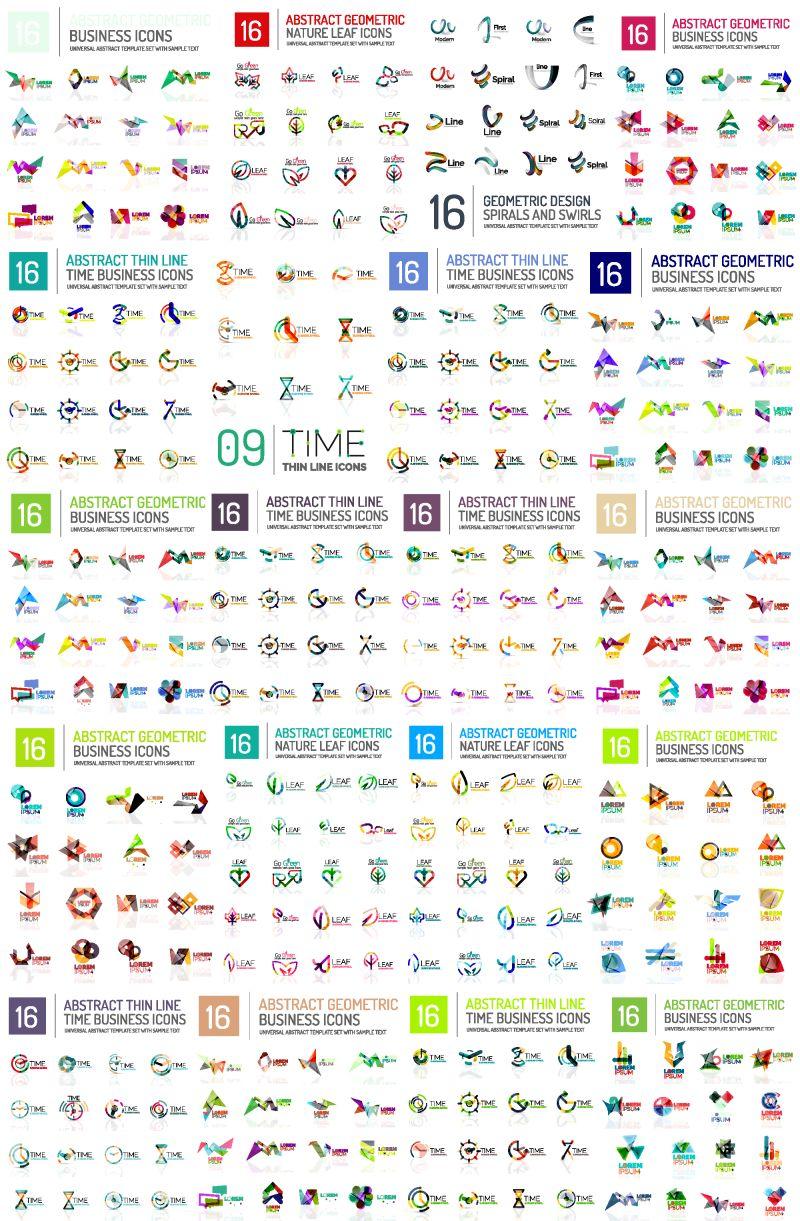 巨型标志巨型集合-抽象几何商业图标集合-品牌企业标识、身份通用概念