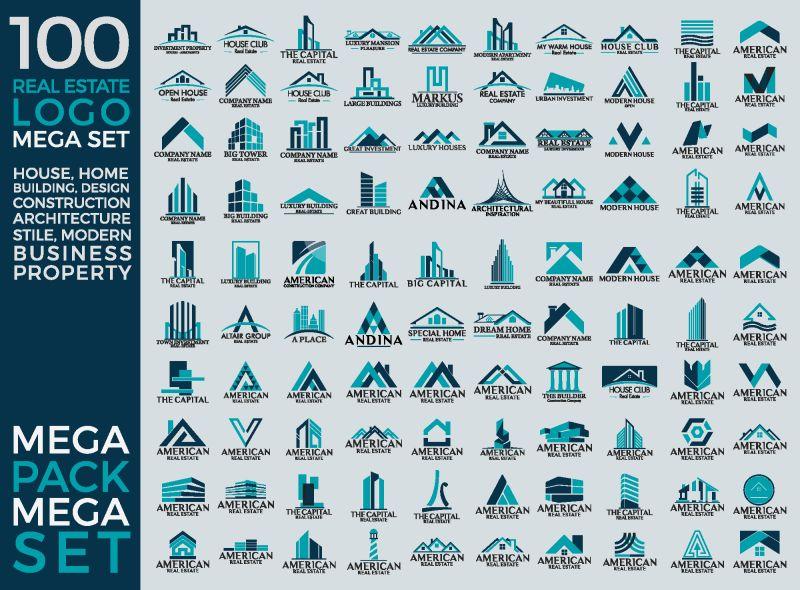 抽象矢量现代房屋主题的创意标志设计