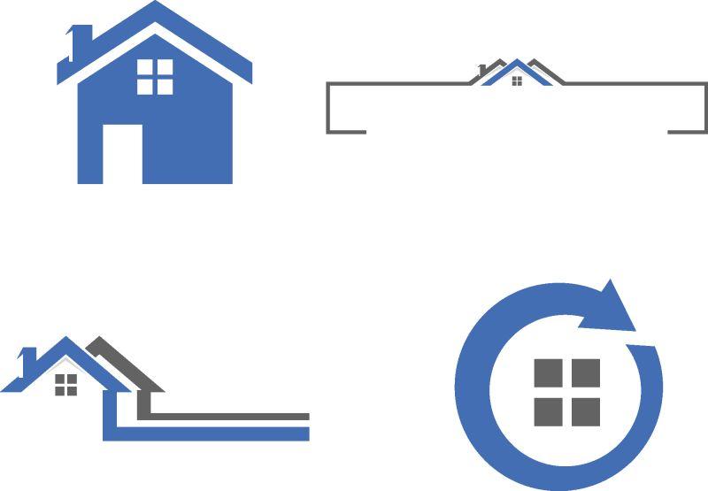 创意矢量房地产主题的平面标志设计