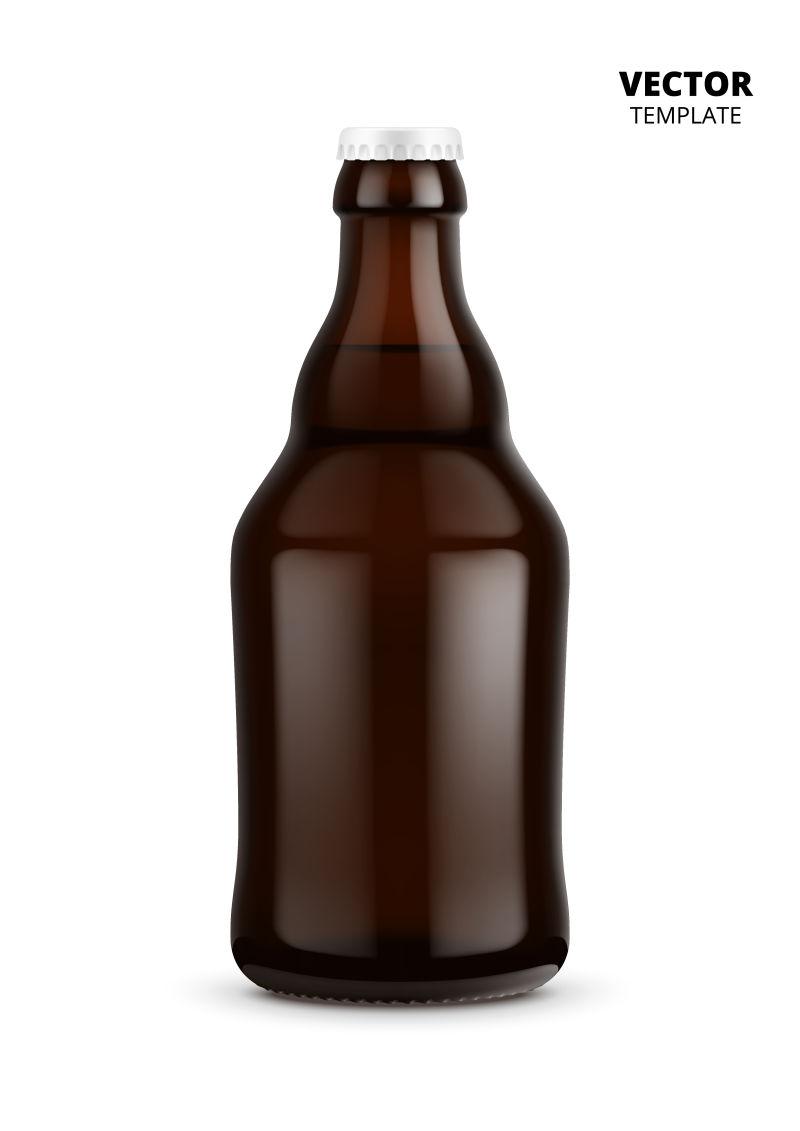 抽象矢量棕色啤酒瓶设计