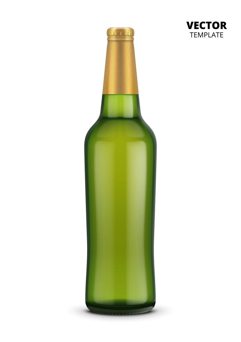 抽象矢量绿色酒瓶设计