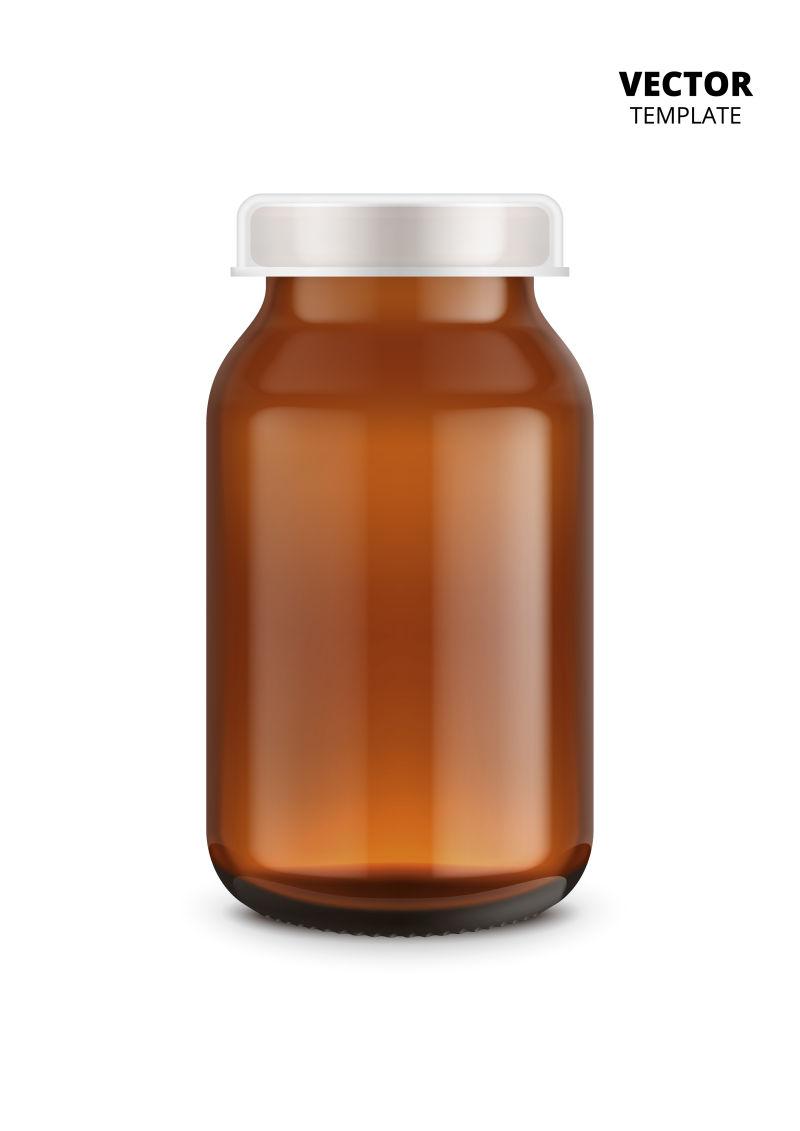 抽象矢量现代棕色药瓶设计