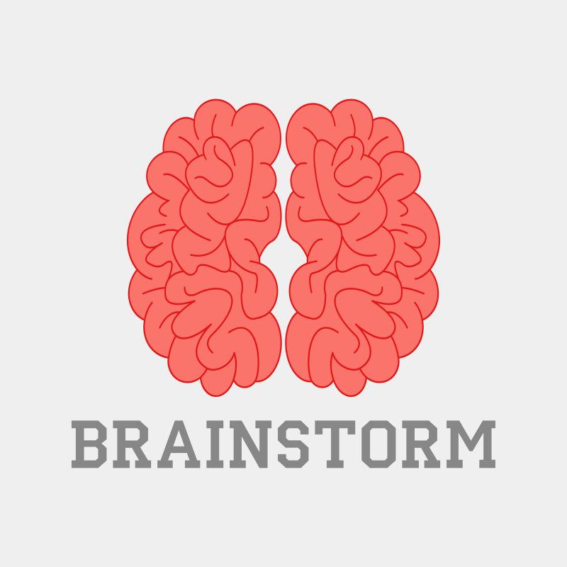 抽象矢量红色大脑标志设计
