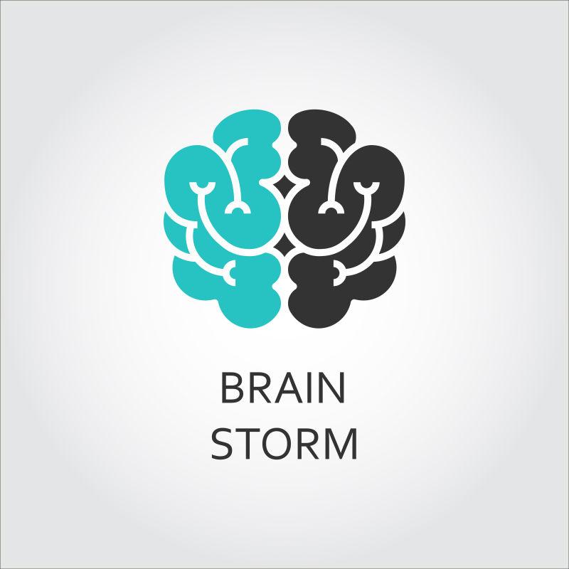 矢量双色大脑标志创意设计
