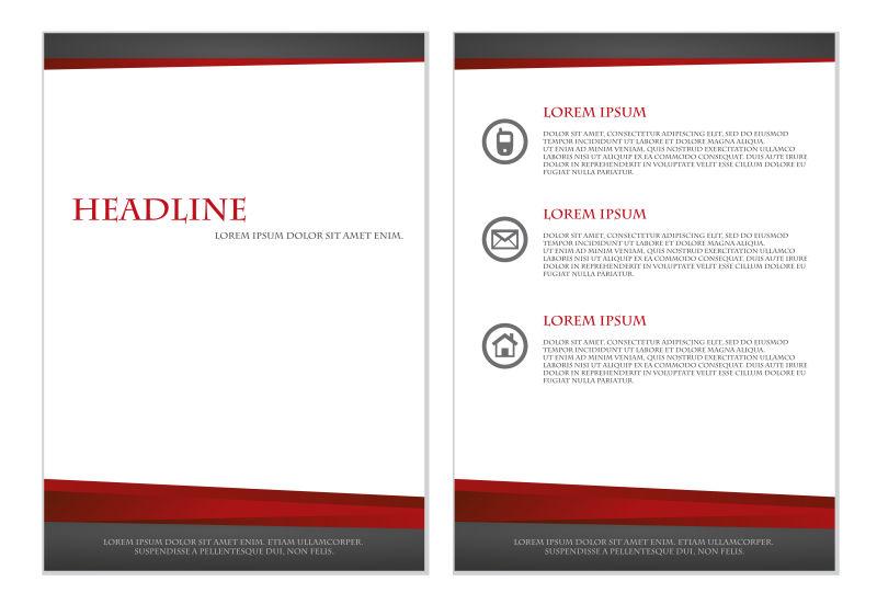 抽象矢量黑色红色宣传单平面设计