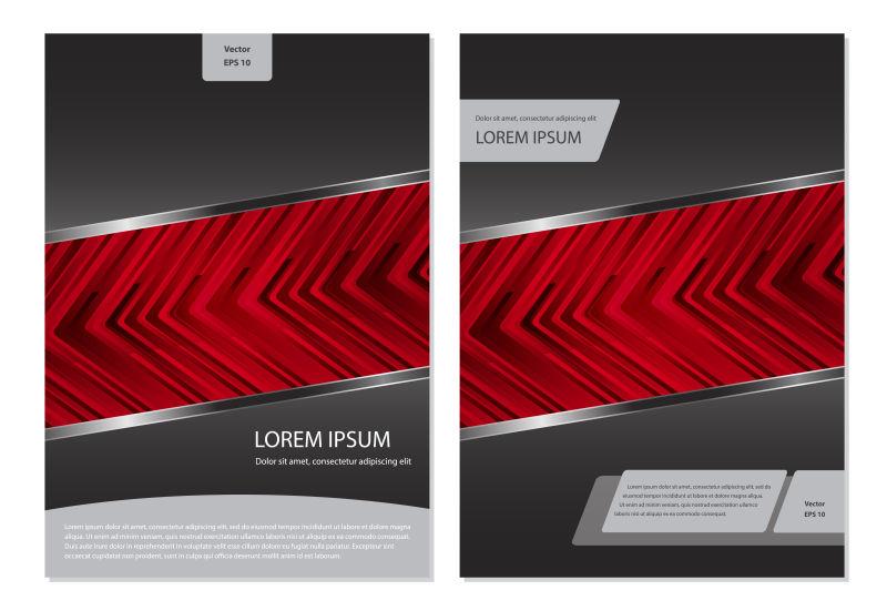 抽象矢量红色箭头元素宣传册设计