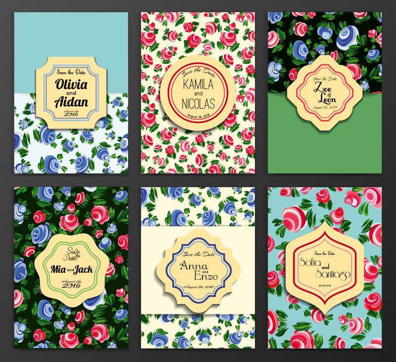 抽象矢量花卉元素装饰的宣传单设计