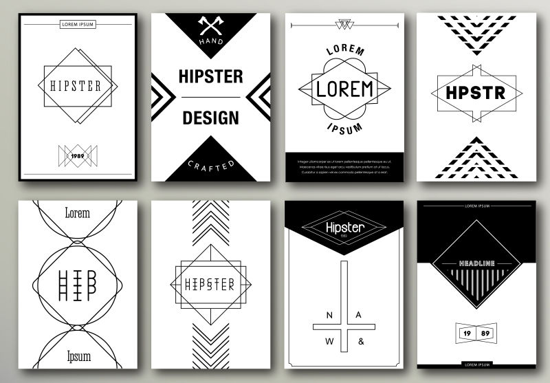 矢量抽象现代黑白商业宣传单创意平面设计
