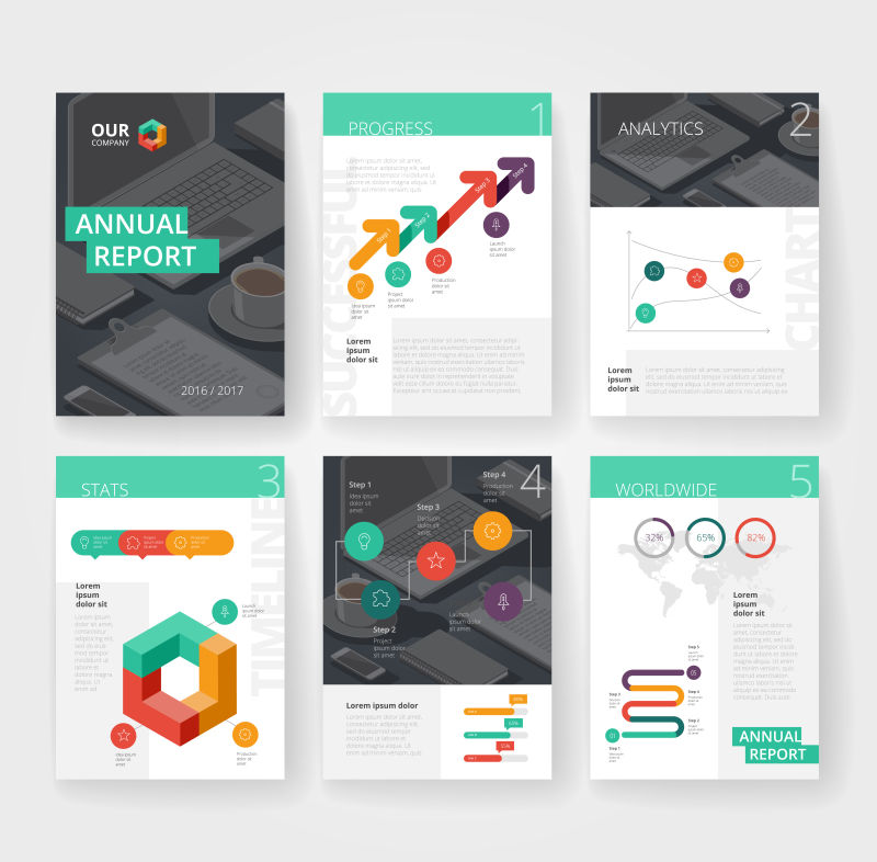 矢量抽象现代商业宣传单平面创意设计