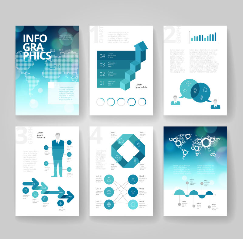 矢量抽象现代时尚蓝色几何风格的商业宣传单平面设计