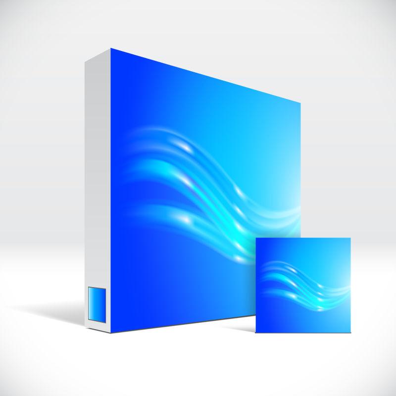 抽象矢量蓝色波纹元素的药盒包装设计