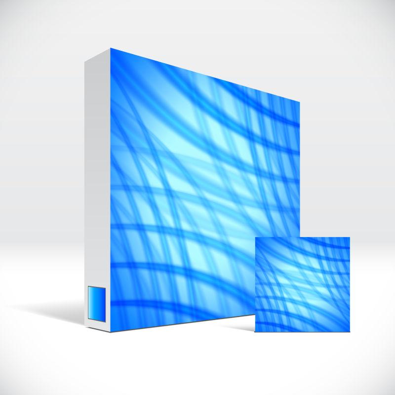 抽象矢量创意蓝线装饰的药盒包装设计
