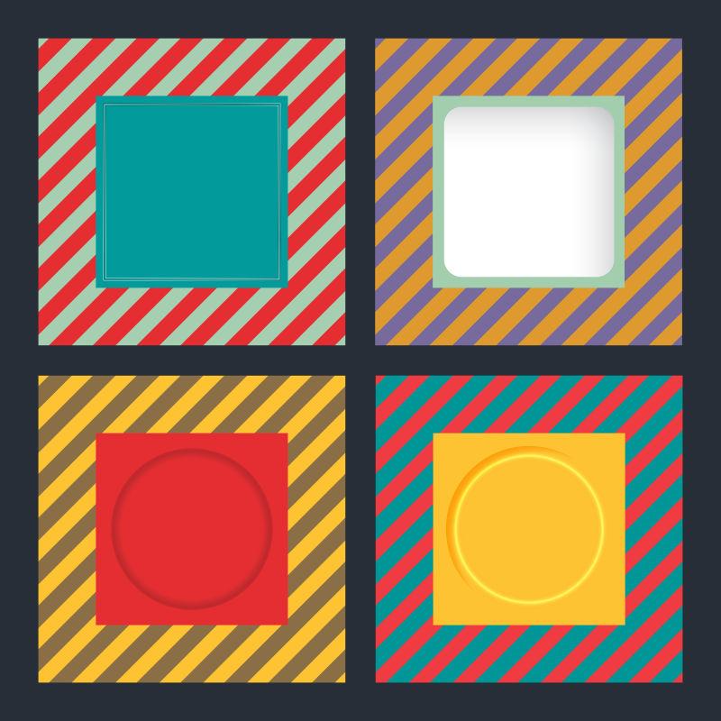 抽象矢量复古条纹元素的方形宣传单设计