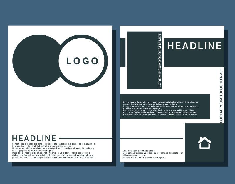 抽象矢量现代时尚双色宣传单平面设计