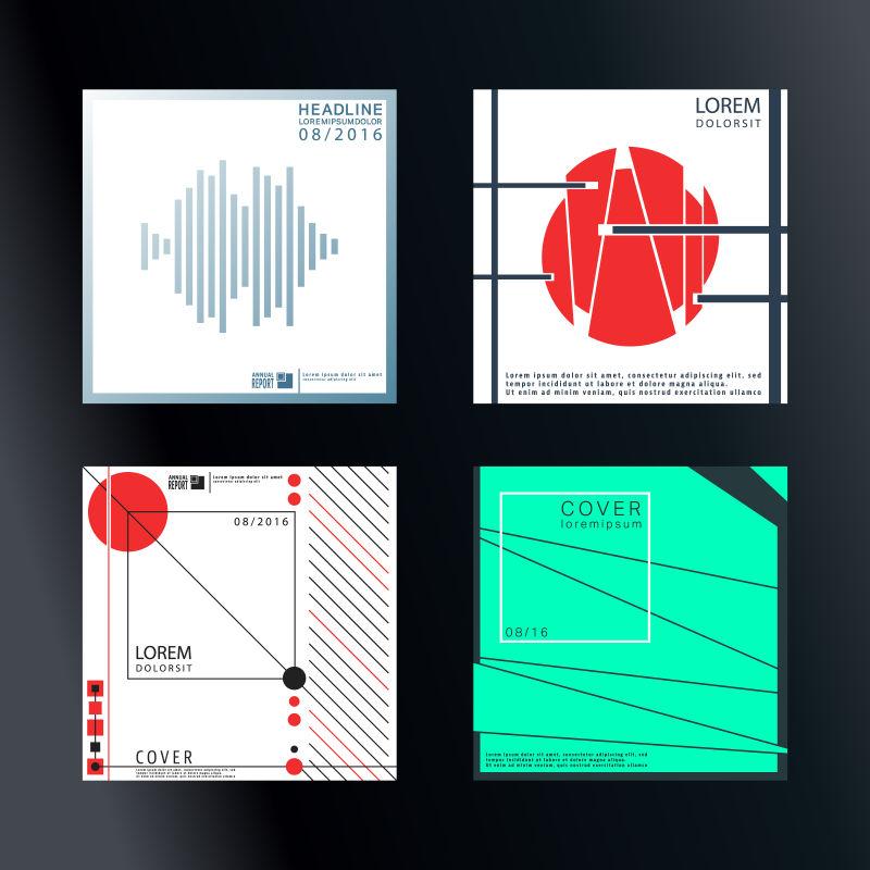 抽象矢量现代时尚简约方形宣传册设计