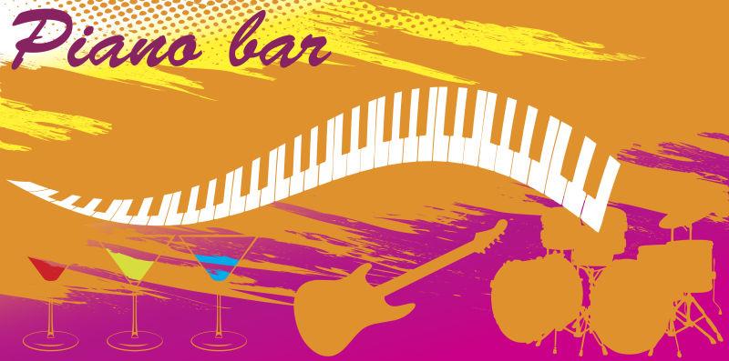 创意矢量乐器元素的派对海报设计