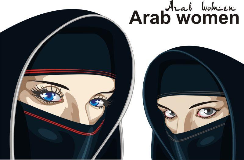 阿拉伯女性在一个透明的背景下。矢量插图
