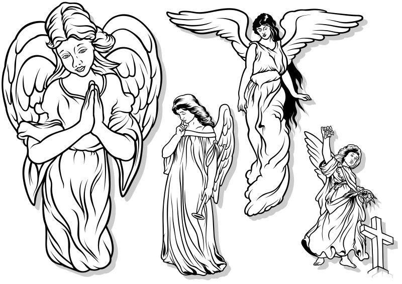 创意矢量天主教天使插图设计
