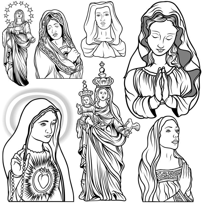 创意矢量现代修女玛丽主题的平面设计插图
