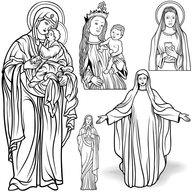 创意矢量现代修女玛丽主题的线性插图设计
