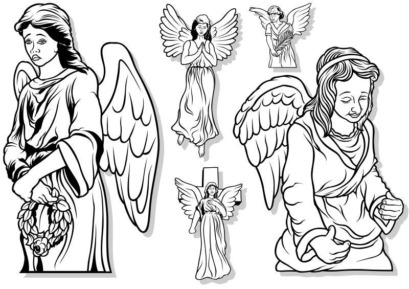创意矢量天主教天使设计插图
