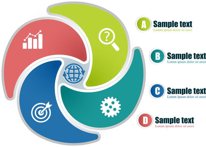 创意矢量现代四色中心循环信息图表设计