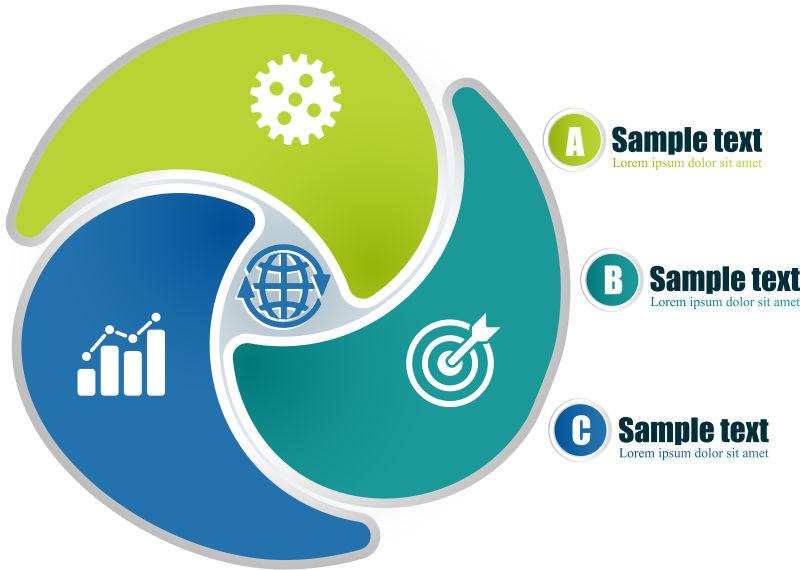创意矢量三色循环圆形信息图表设计
