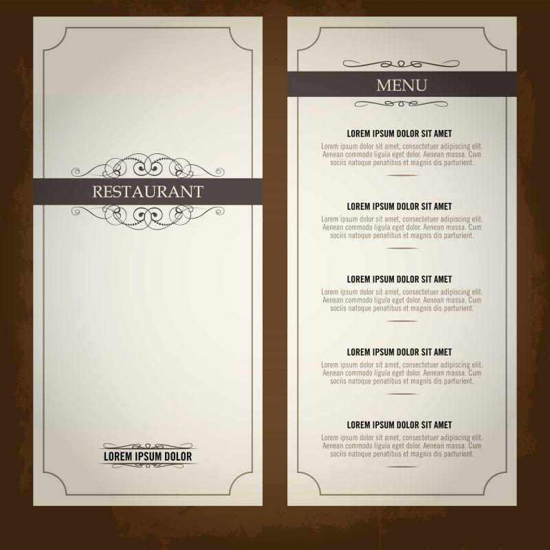 创意矢量经典优雅菜单设计