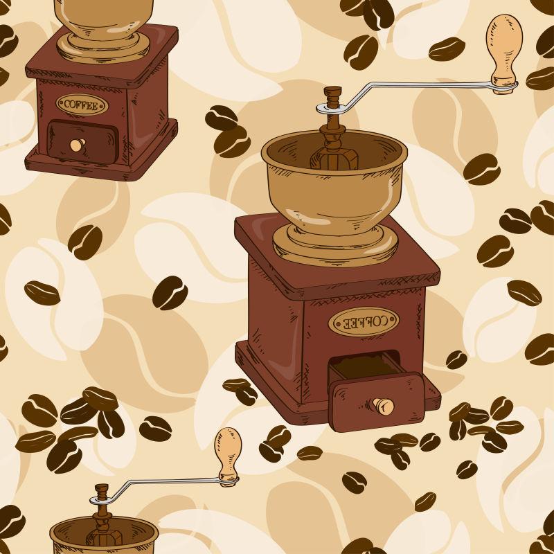 创意矢量现代手绘咖啡机插图设计