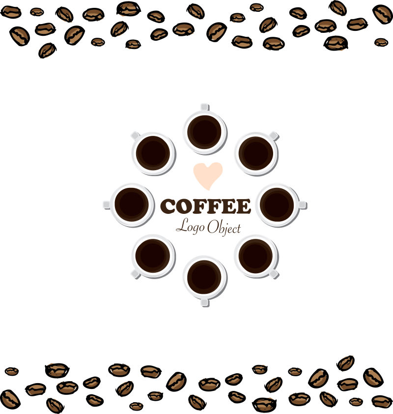 创意矢量现代咖啡元素平面背景设计