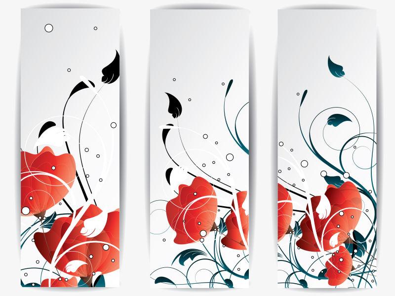 创意矢量手绘红花元素的现代横幅设计