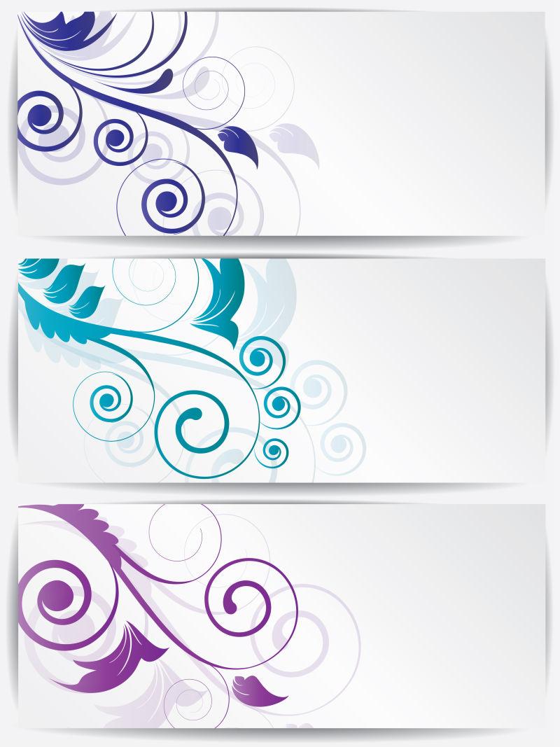 矢量创意现代彩色花卉元素的平面横幅设计