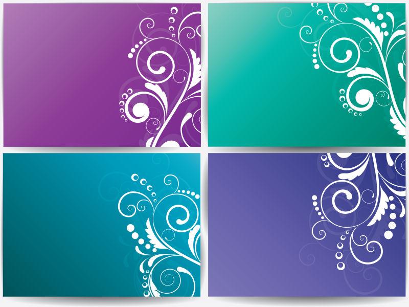 创意矢量现代彩色花卉元素的背景横幅设计