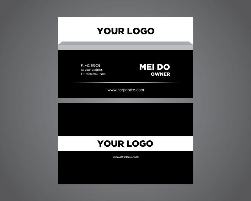 抽象矢量现代黑白简约名片设计