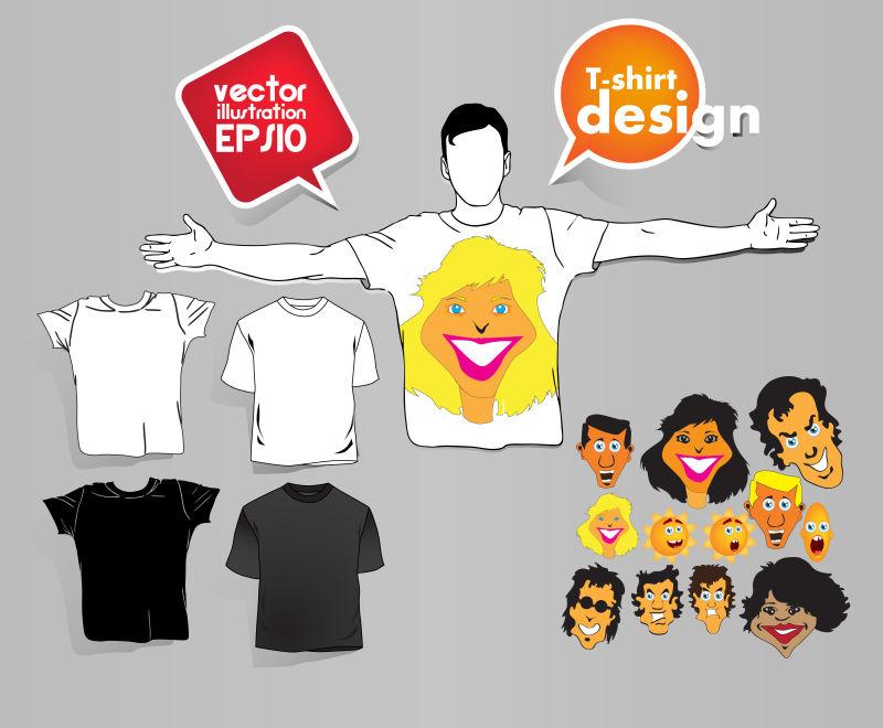 创意矢量卡通人像元素的T恤设计