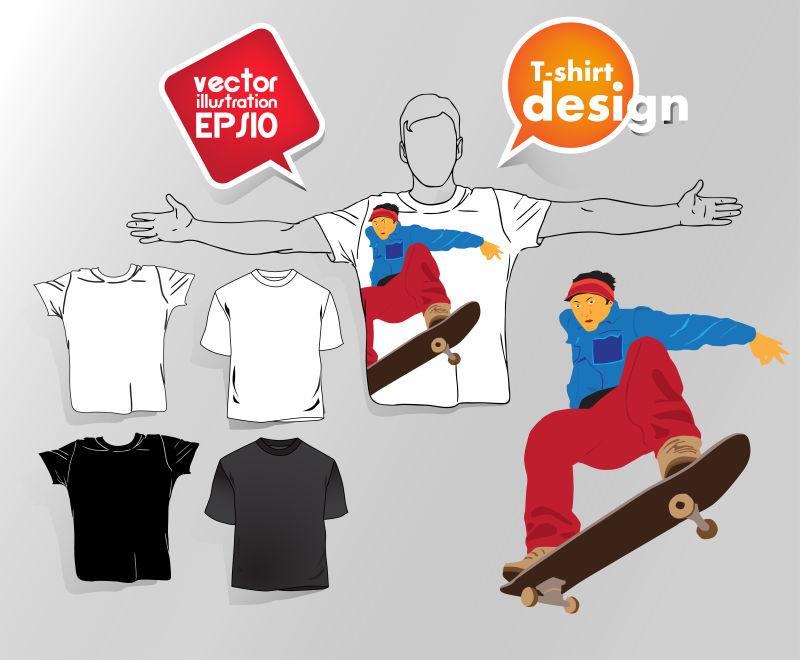 创意矢量滑雪元素的T恤设计