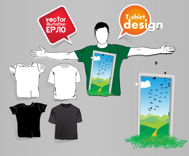 创意矢量现代户外景色元素的T恤设计