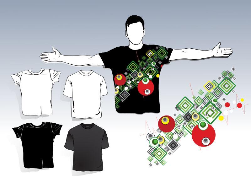 矢量抽象现代几何图形元素的T恤设计