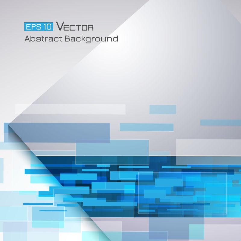 抽象矢量现代蓝色矩形元素背景设计