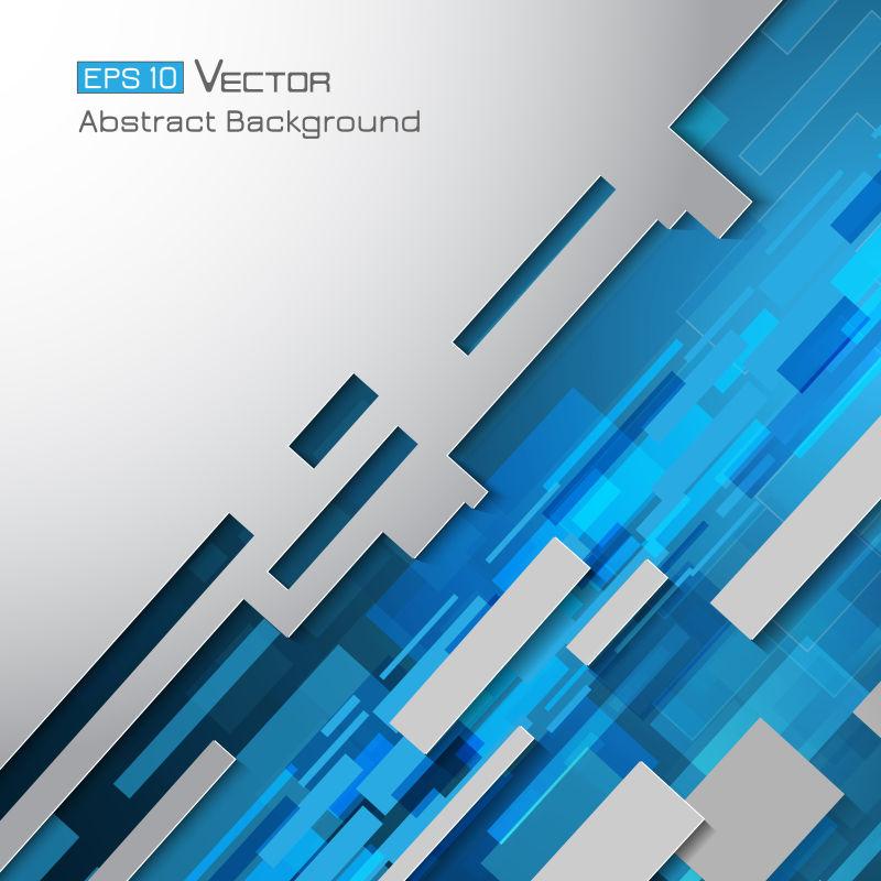 抽象矢量蓝色几何矩形元素背景设计