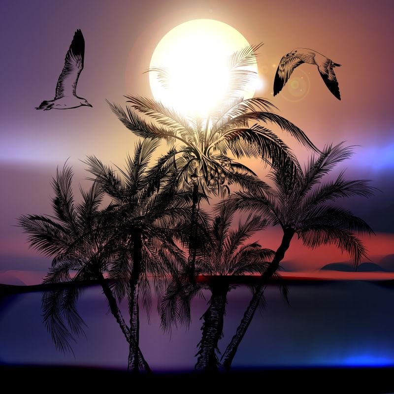 抽象矢量现代热带沙滩剪影插图设计
