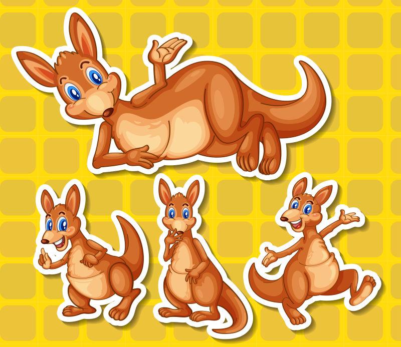 抽象矢量卡通袋鼠设计插图