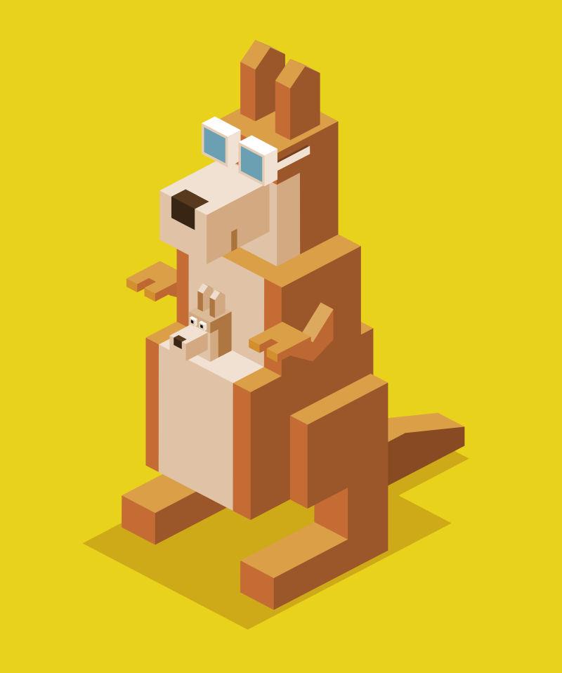 抽象矢量立体风格的袋鼠设计插图