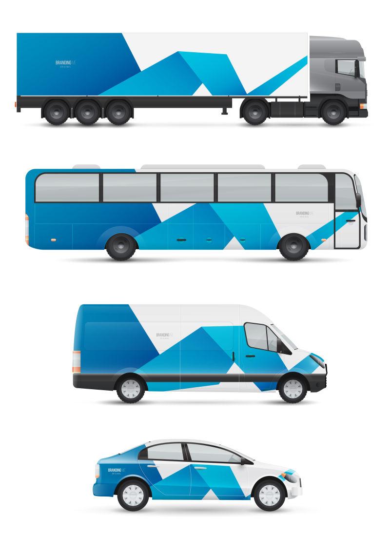抽象矢量蓝色飘带元素的车辆设计