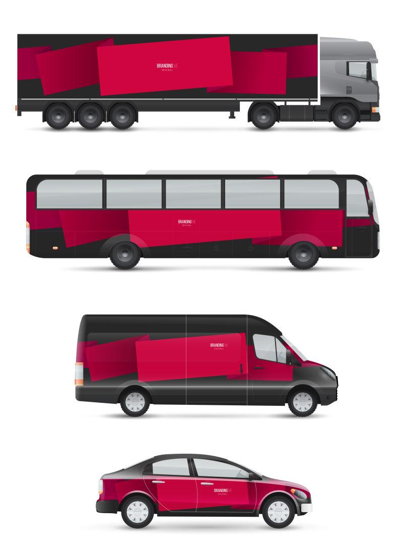 创意矢量现代红色黑色车辆设计