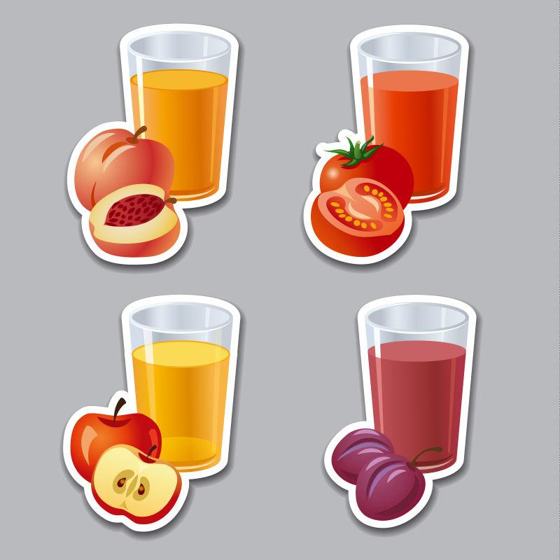 创意矢量现代新鲜果汁设计插图