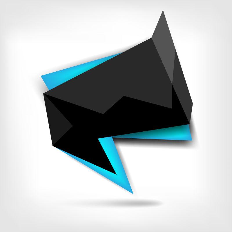 抽象矢量现代黑色多边形标签设计