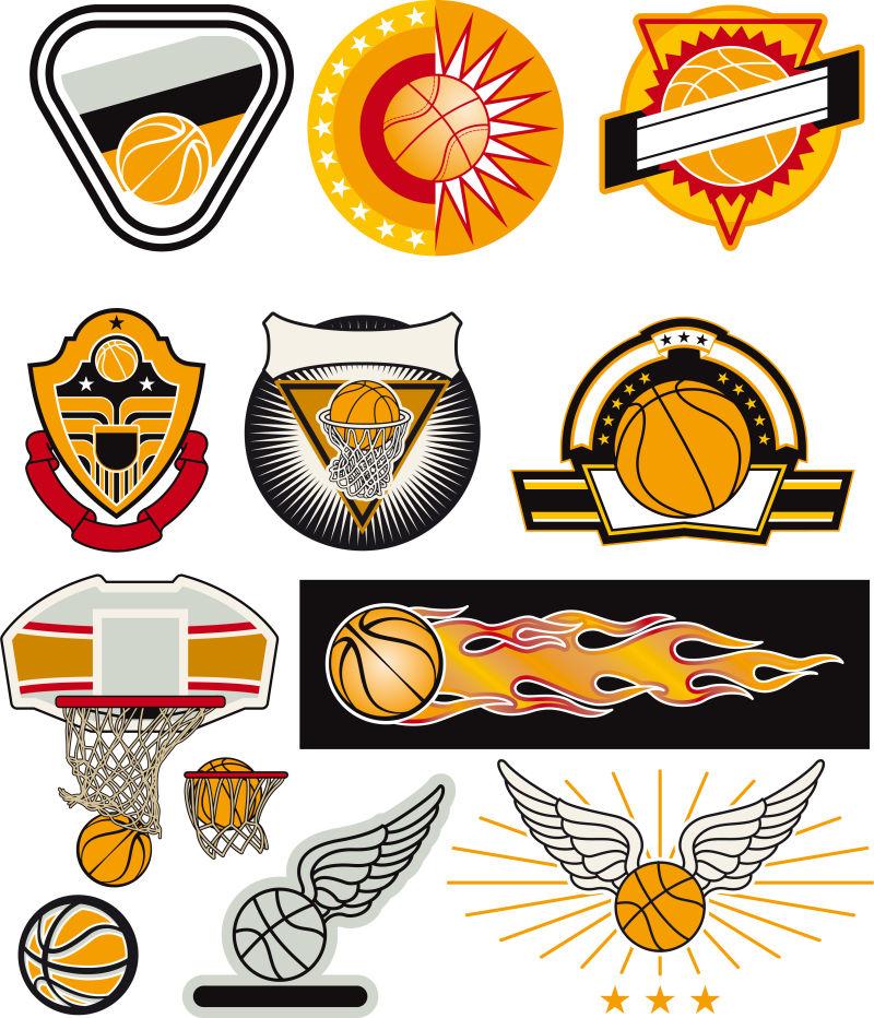 矢量集篮球标志印刷-网页-设计-广告-运动队在白色背景上